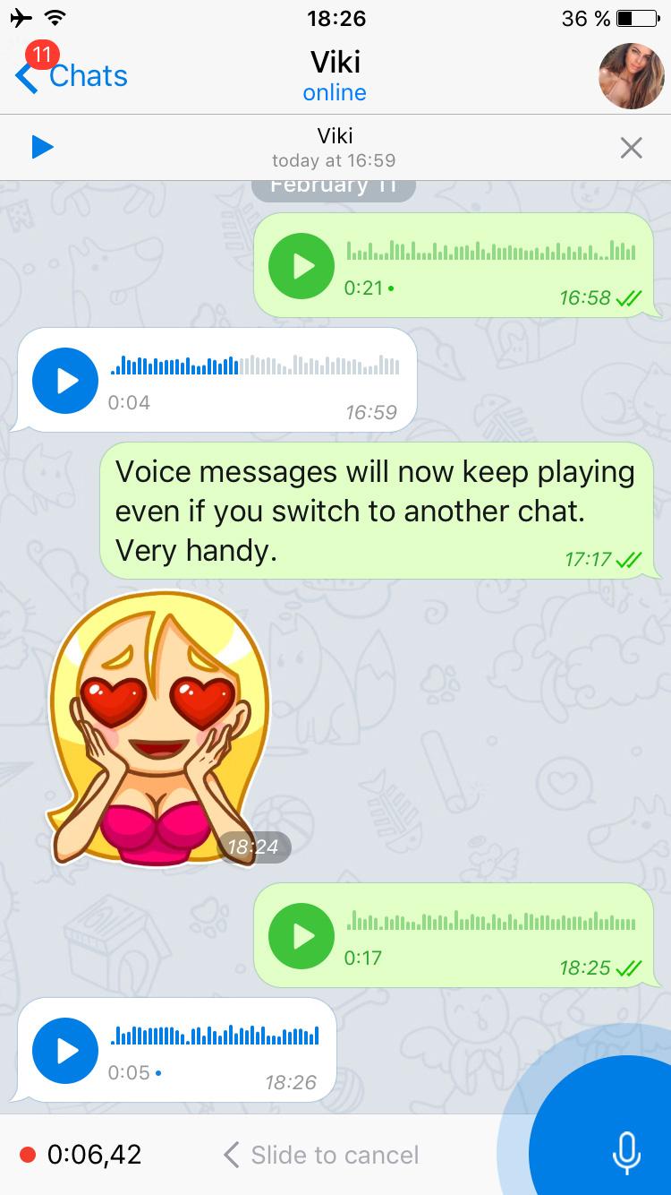 telegram mensajes voz update actualizacion