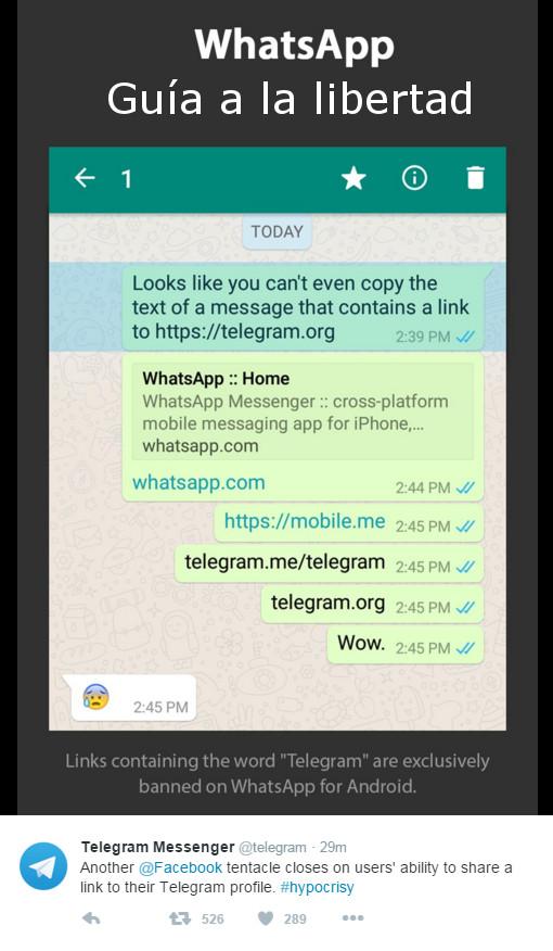 Whatsapp bloquea la opción de compartir enlaces al perfil de Telegram